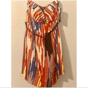 Strapless Patterned Dress with Belt
